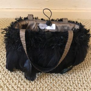Vintage one of a kind black feather evening bag